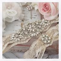 Wedding Garter Set, Champagne Bridal Garter Set, Champagne ...