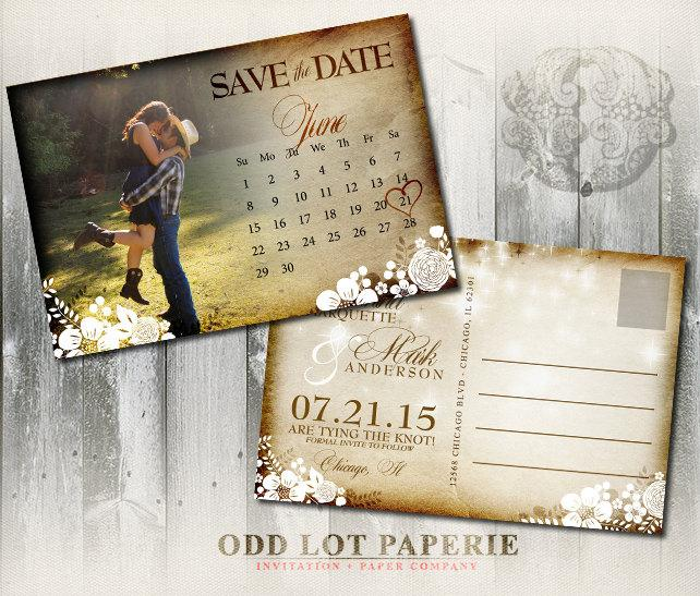 Invitation - Printable Rustic Save The Date Postcard #2461381 - Weddbook - save date postcard