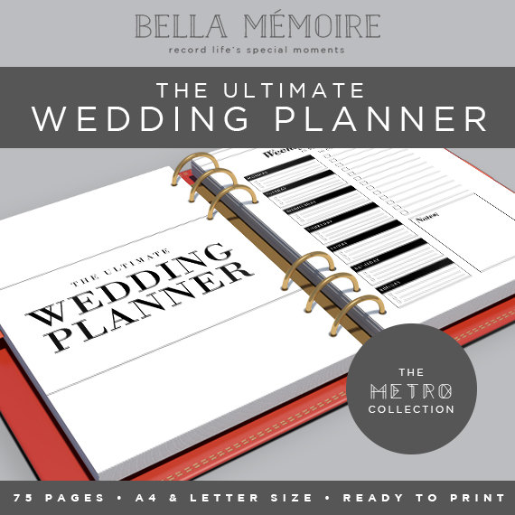 Printable Wedding Planner - Metro Collection   INSTANT DOWNLOAD