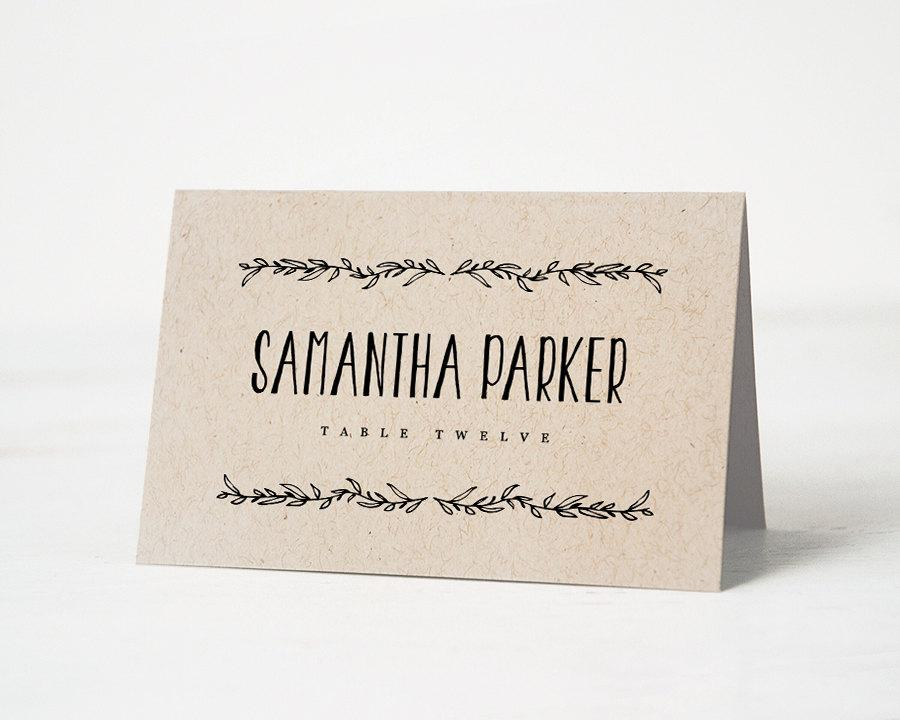 Printable Place Card Template, Wedding Place Cards, Editable Artwork - template for name cards