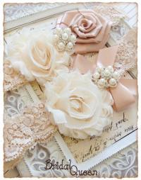 Lace Wedding Garter Set, Cream Bridal Garter Set, Lace ...