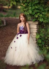 Dress - Ivory Purple Flower Girl Dress #2464579 - Weddbook
