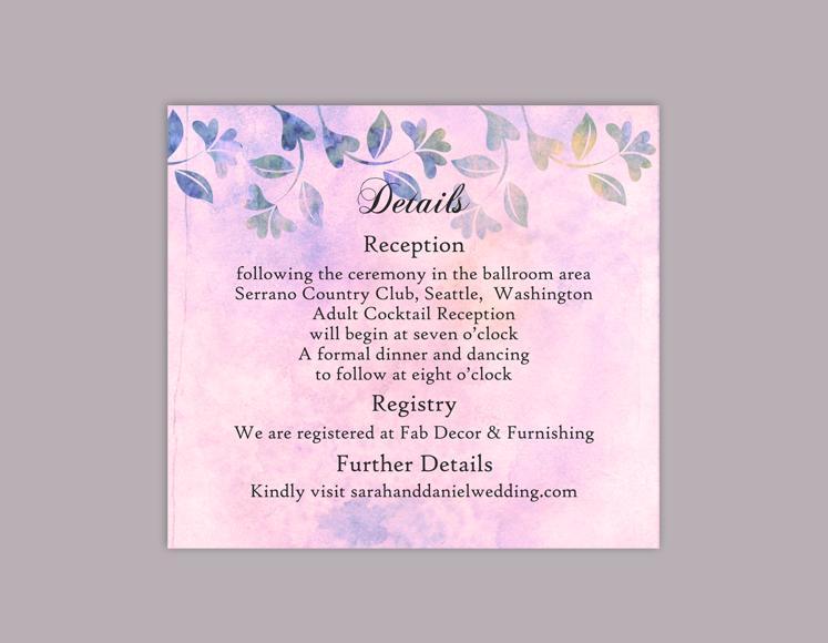 DIY Rustic Wedding Details Card Template Editable Word File Download