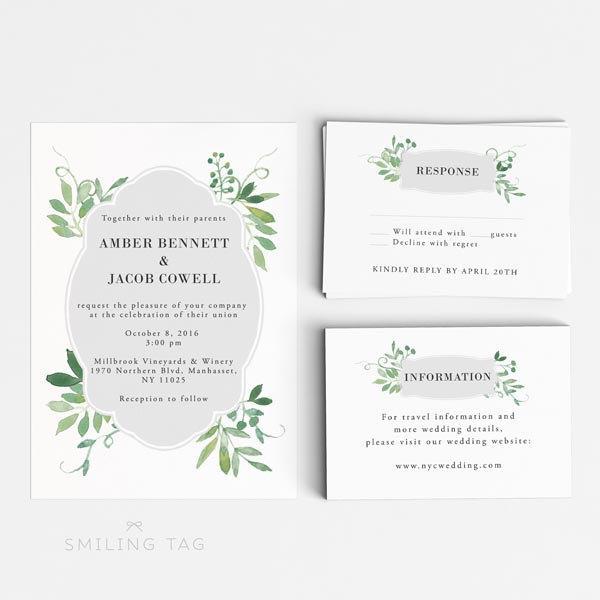 Wedding Invitation Printable Set - Watercolor Botanical Garden