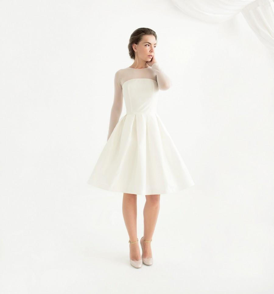 long sleeve knee length civil wedding dress lotta dress civil wedding ceremony dresses Long Sleeve Knee Length Civil Wedding Dress Lotta Dress