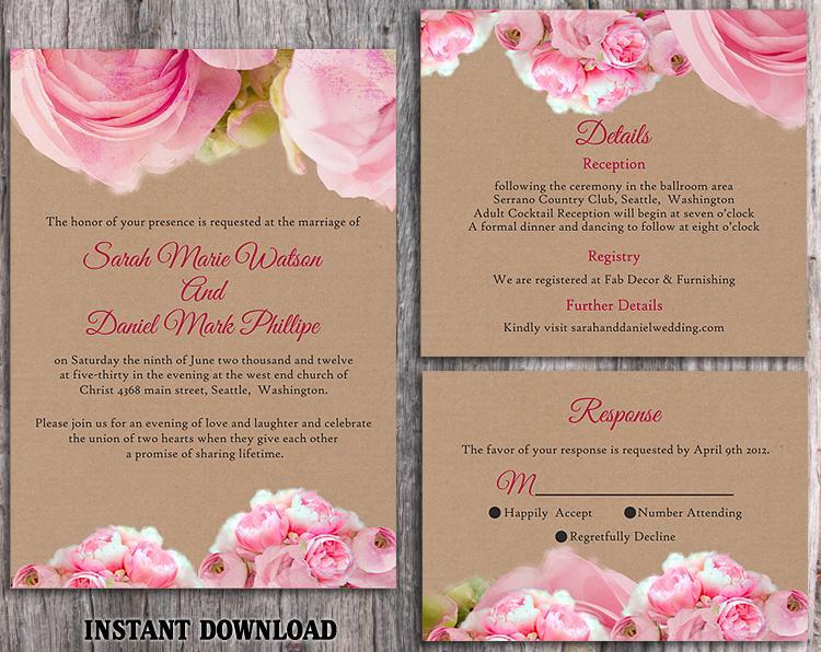 DIY Rustic Wedding Invitation Template Set Editable Word File