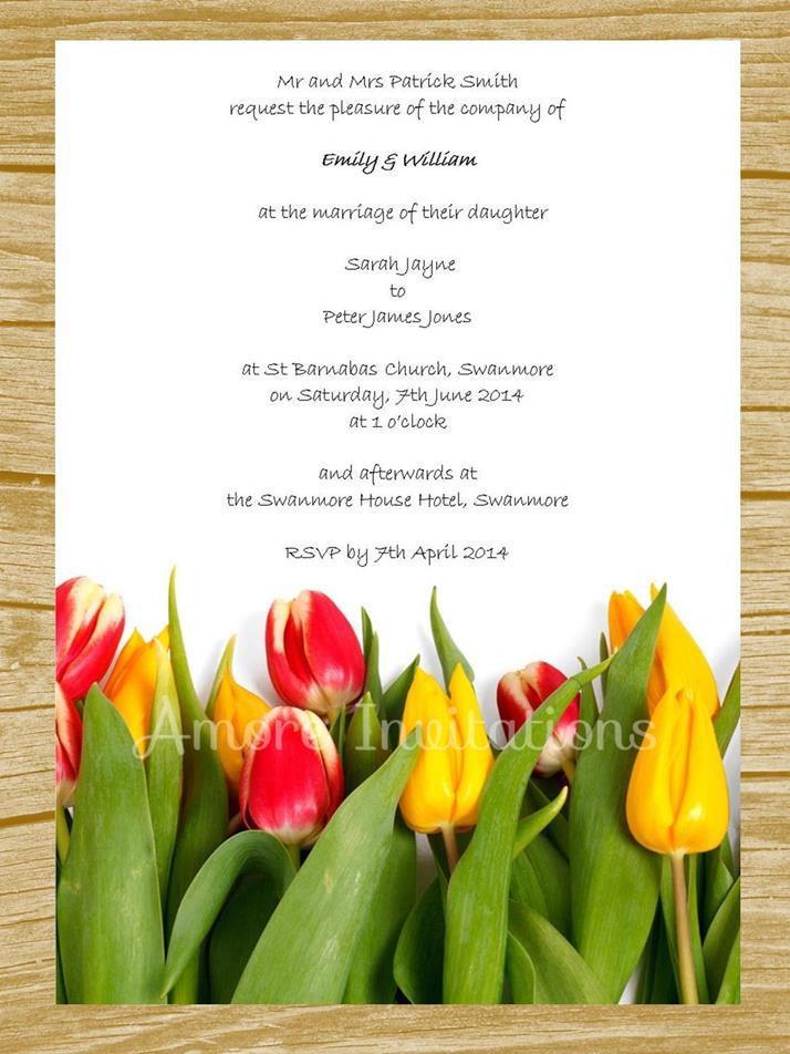 DIY Digital Printable Yellow  Red Tulips Wedding / Birthday / Party