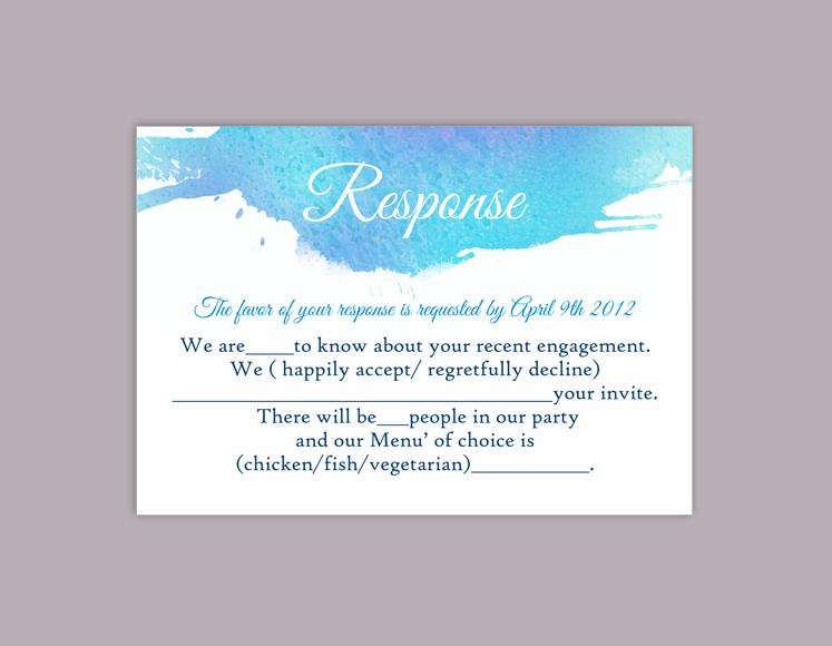 DIY Watercolor Wedding RSVP Template Editable Word File Instant