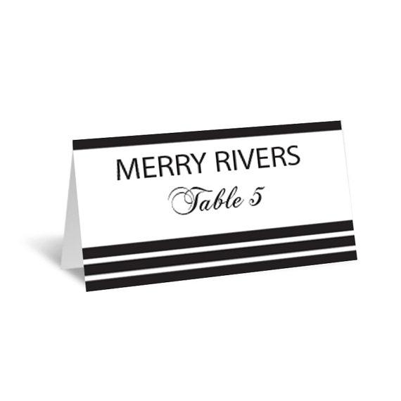 Stripes Wedding Place Card Editable PDF Template - Foldover Black