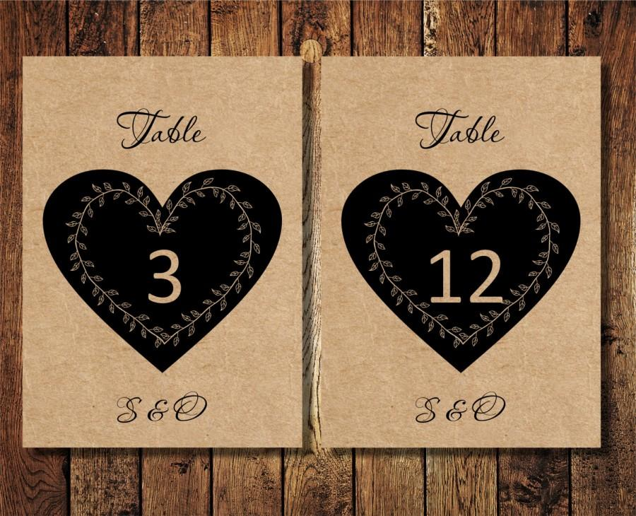 DIY Wedding Printable Table Numbers, Rustic Heart Wedding Table