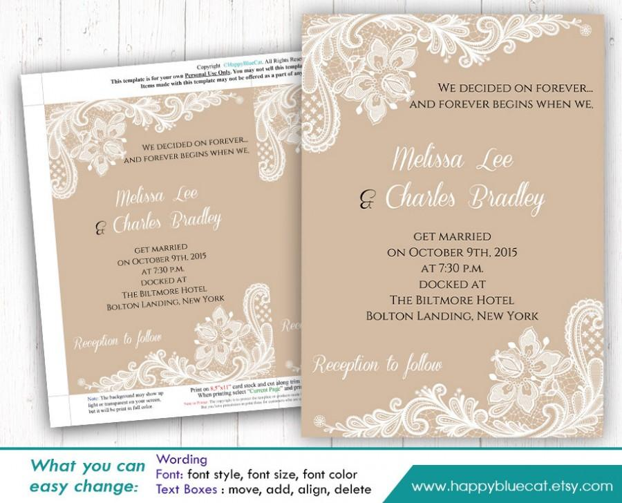 DiY Printable Wedding Invitation Template - Instant Download