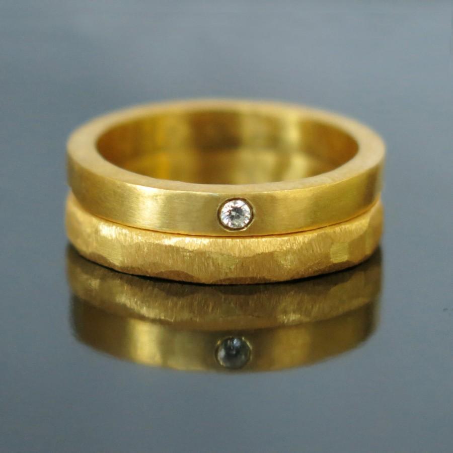 simple unique wedding band set of unique wedding ring Simple Unique Wedding Band Set of Hammered Gold zoom