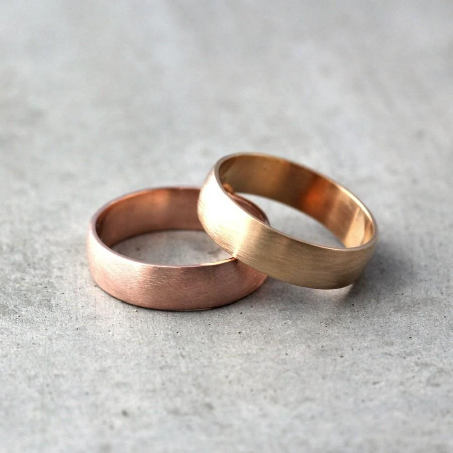 brushed beveled wedding ring white rose gold brushed gold wedding band Brushed Beveled Edge Wedding Ring in 14k White and Rose Gold 7mm
