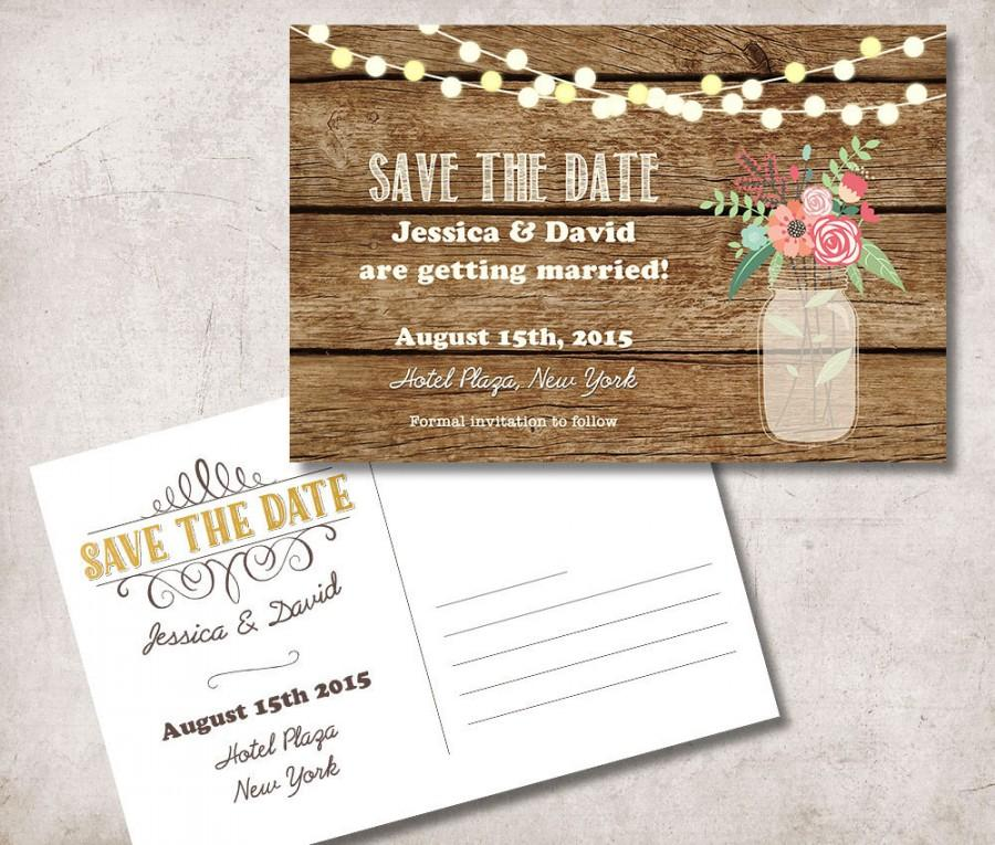 Save The Date Postcard Printable, Rustic Save The Date Card, Mason