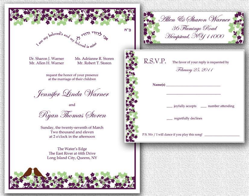 Wedding Invitation, RSVP Card  Return Address Labels - Template Set