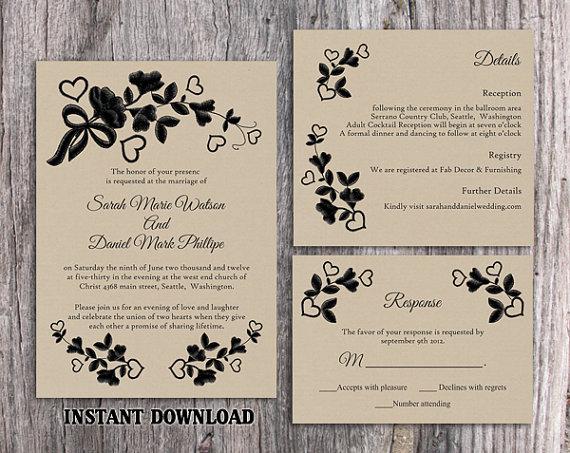 DIY Lace Wedding Invitation Template Set Editable Word File Download