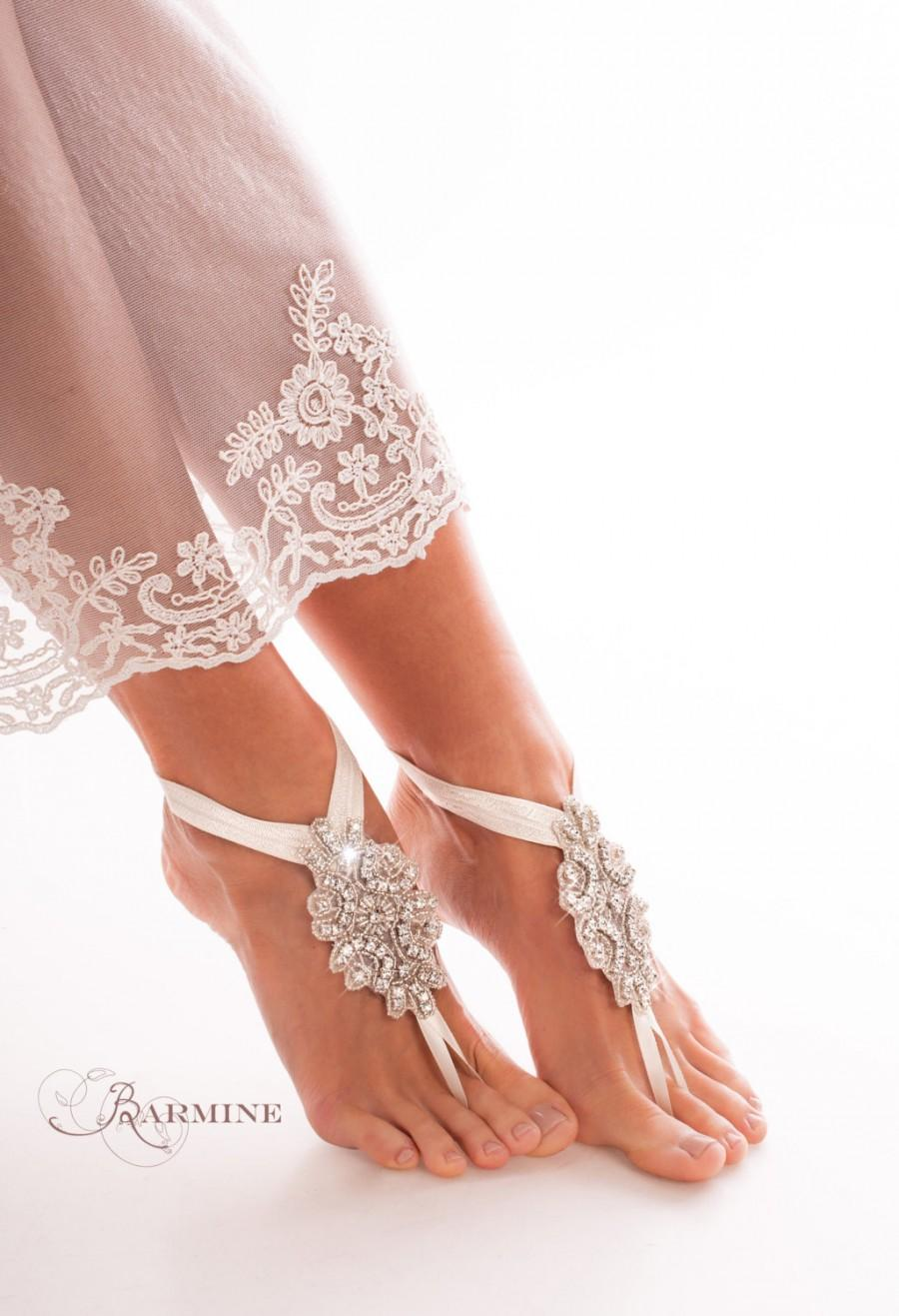 Bridal barefoot sandals crystal foot jewelry rhinestone barefoot sandals barefoot bride beach wedding footless sandal wedding shoes