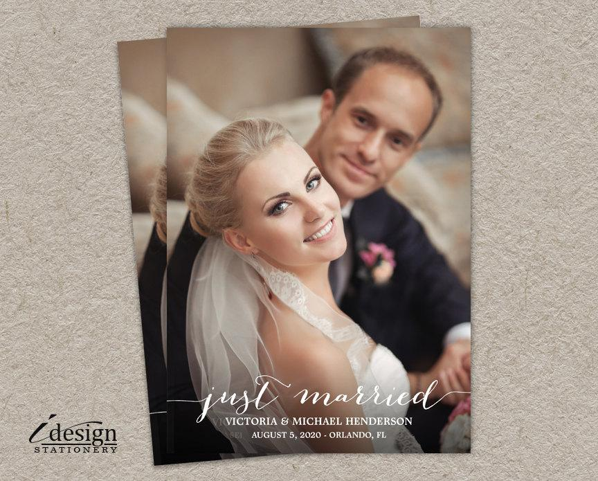 Just Married Wedding Announcements Photo Cards, DIY Printable