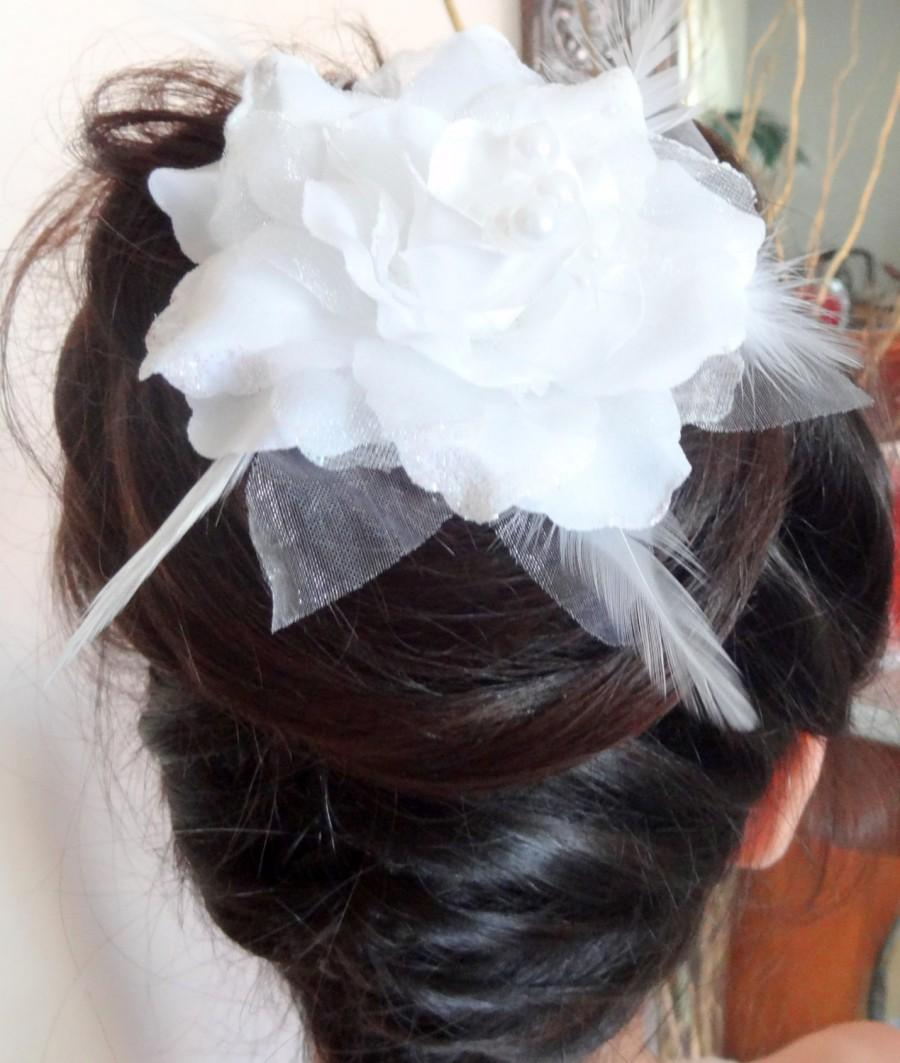 Wedding Hair Accessories, White Flower Wedding Hair Pins