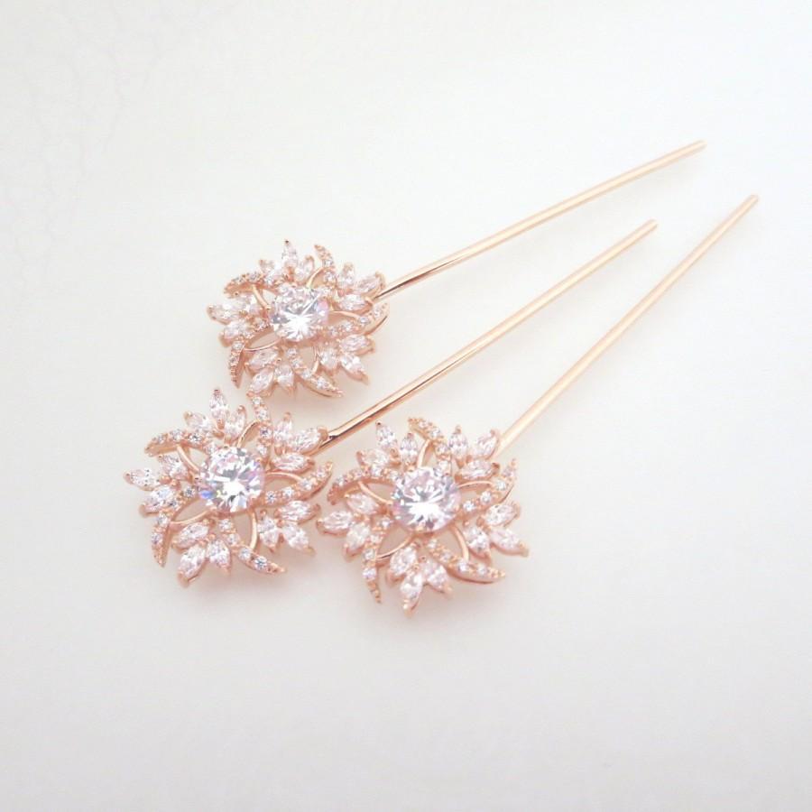 Rose gold hair pin bridal hair pins rose gold wedding hair pins bridal hair clips crystal hair pins hair accessories rose gold clips