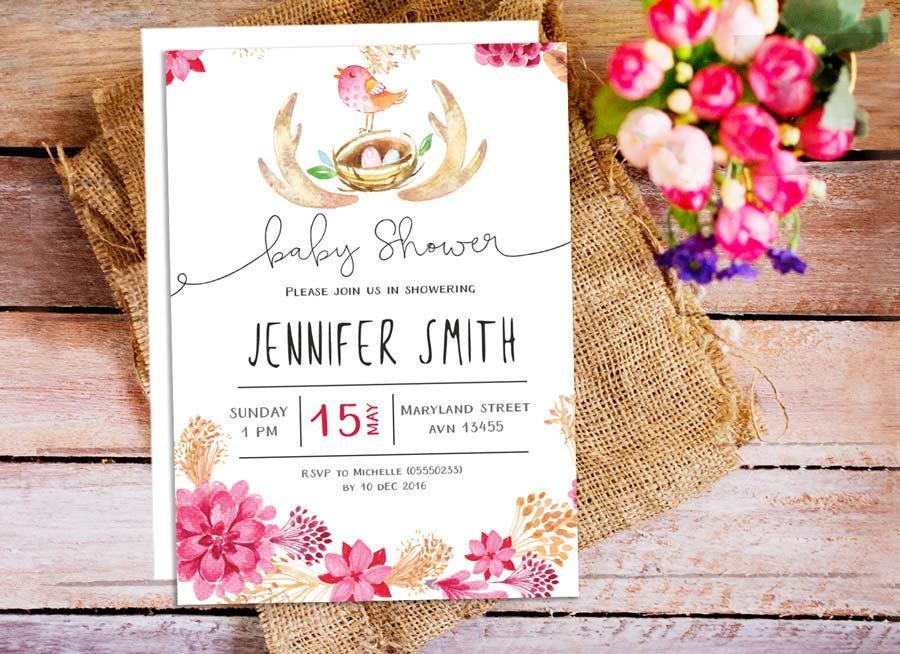 Floral Baby Shower Invitations Diabetesmanginfo