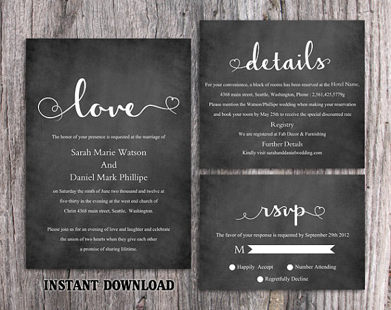 DIY Wedding Invitation Template Set Editable Word File Download - chalk board invitation template