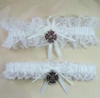 FIREFIGHTER Fireman Wedding Garters White Lace Garter Set ...