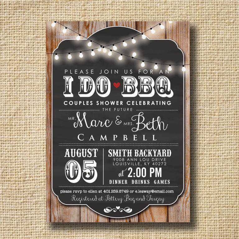 I Do BBQ Invitation Engagement Party Invite Couples Shower BBQ