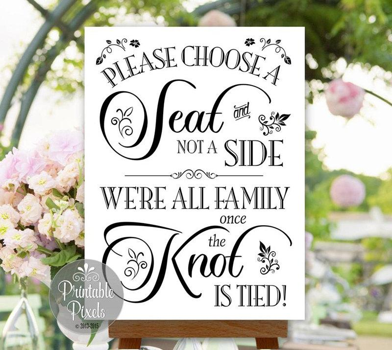 Choose A Seat Not A Side Wedding Sign Printable No Seating Plan