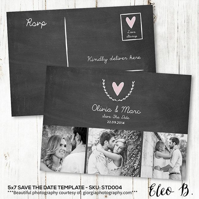 Save The Date Postcard - Save The Date Template - Wedding Invitation - engagement card template