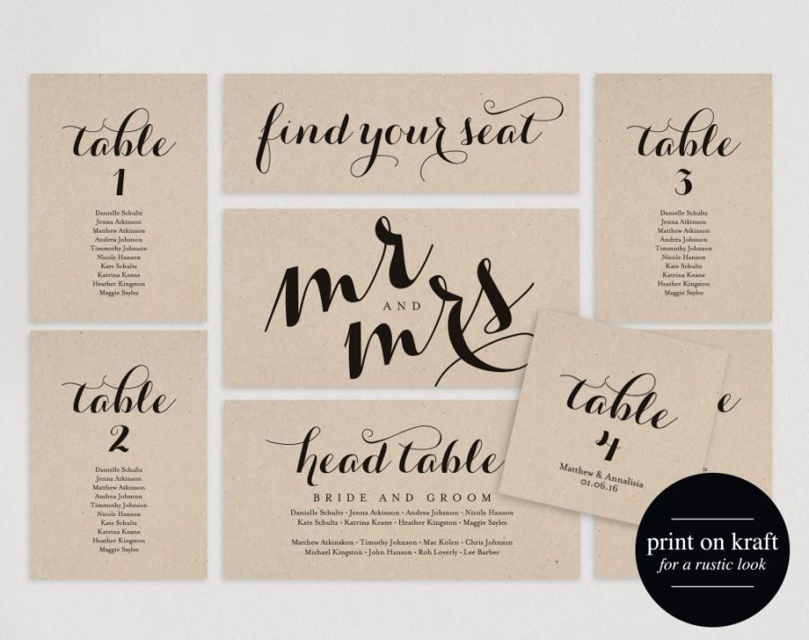 Wedding Seating Chart, Seating Plan Template, Wedding Seating Cards