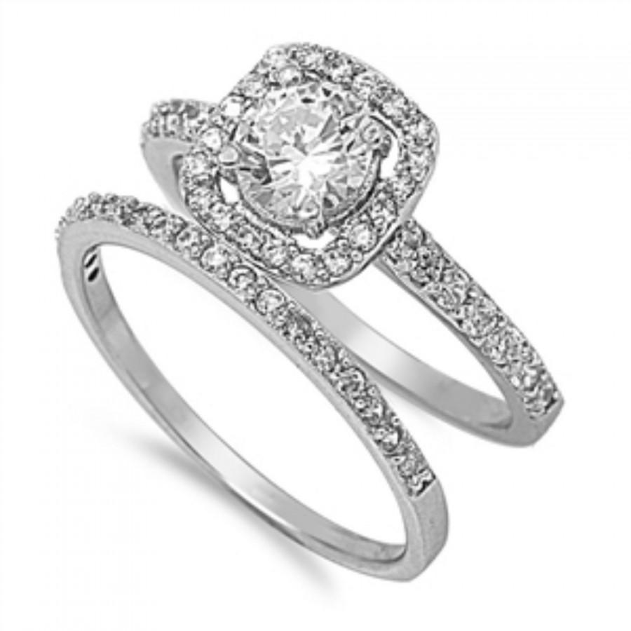 two piece wedding ring set - Vintage Wedding Ring Set