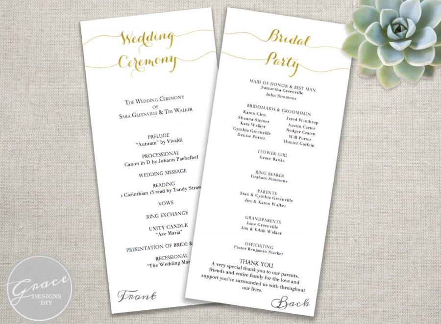 Gold Wedding Programs / Script Calligraphy Style / Tall / DIY