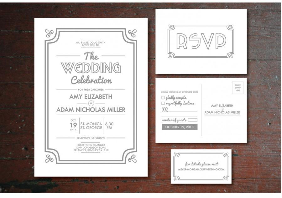 Printable Vintage Wedding Invitation, RSVP Postcard, Info Card