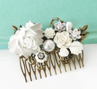 Wedding Hair Comb White Bridal Hair Slide Romantic Hair ...