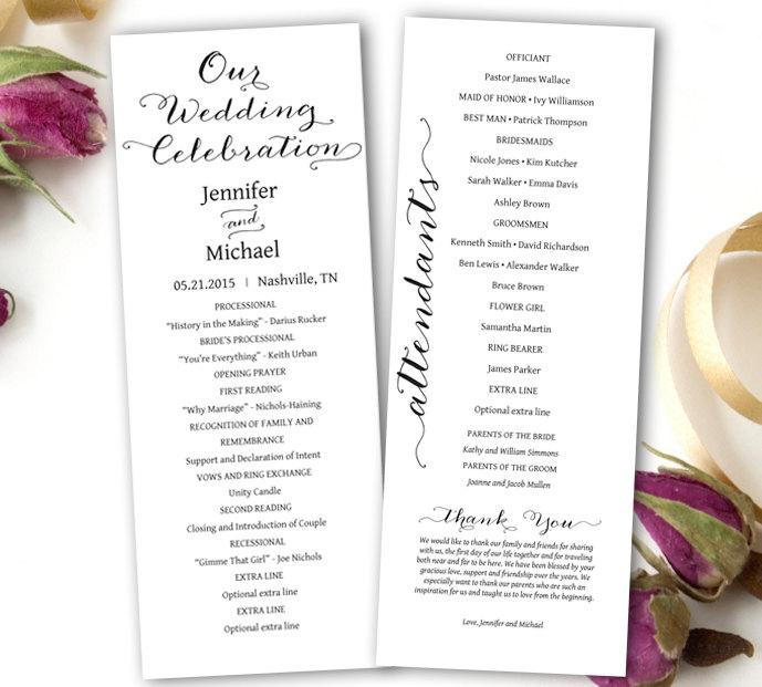 Wedding Program Printable - Wedding Program Template - Tea Length