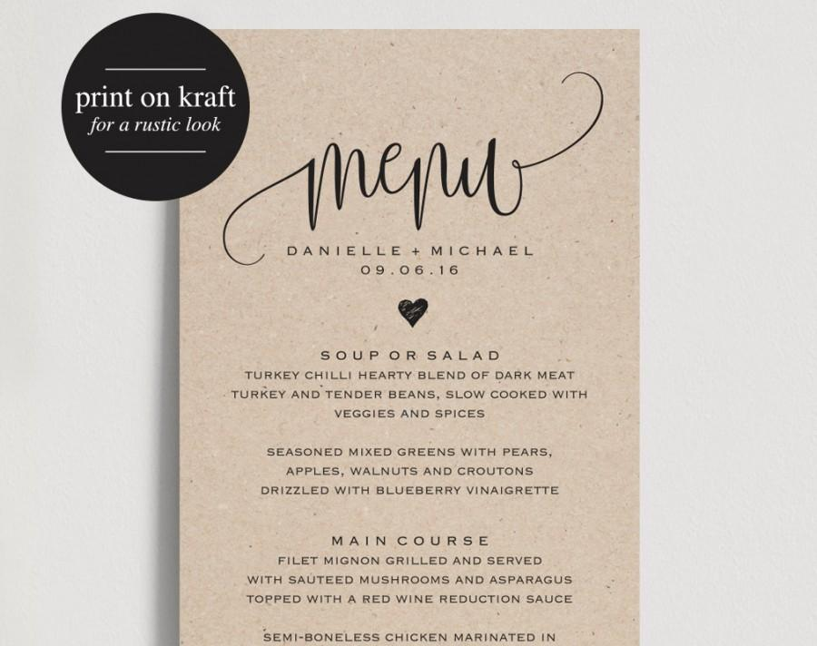 Rustic Wedding Menu, Wedding Menu Template, Menu Cards, Menu - dinner party menu template