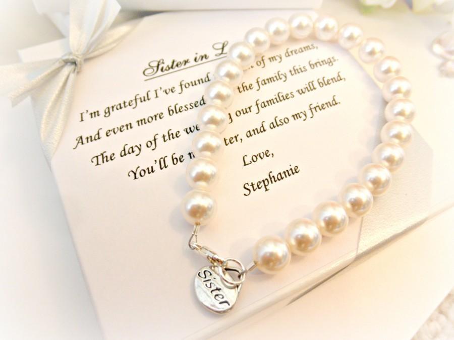 Sister Pearl Strand Bracelet Sister In Law Bridesmaid