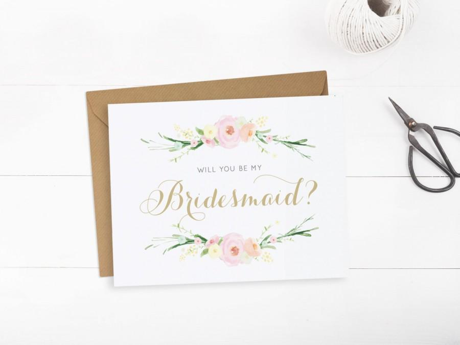 Floral Will You Be My Bridesmaid Cards, Card To Ask Bridesmaid, Will