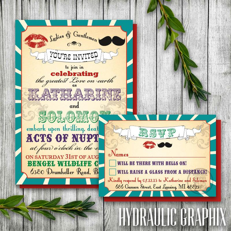 Vintage Printable Carnival Wedding Invitation And RSVP Card For A