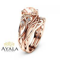 2 Carat Morganite Engagement Rings 14K Rose Gold Ring Set ...