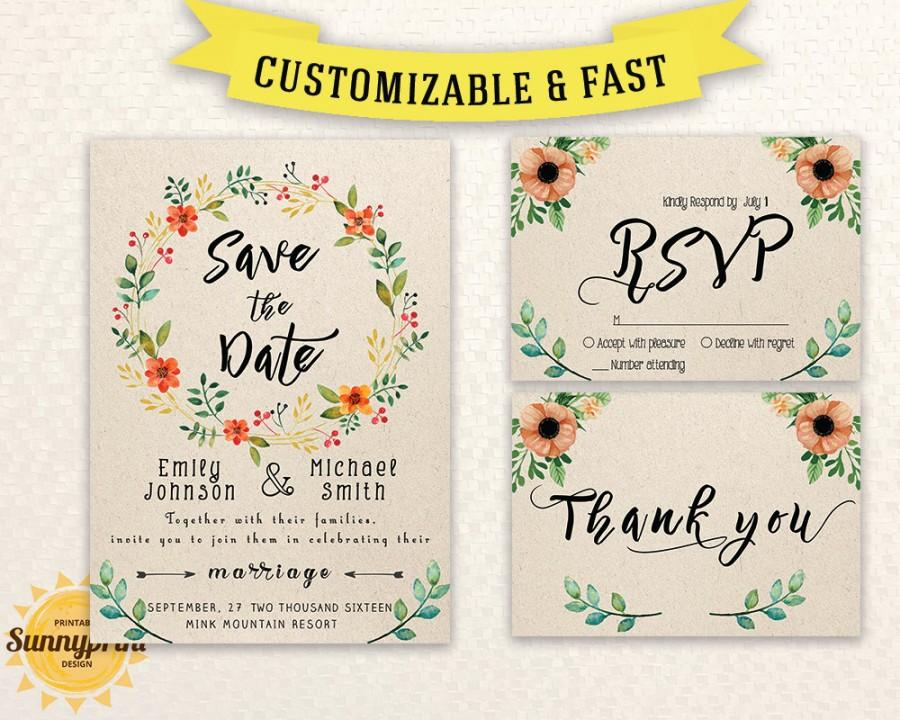 Wedding Invitation Template Download - Printable Wedding Invitation - Save The Date Wedding Templates
