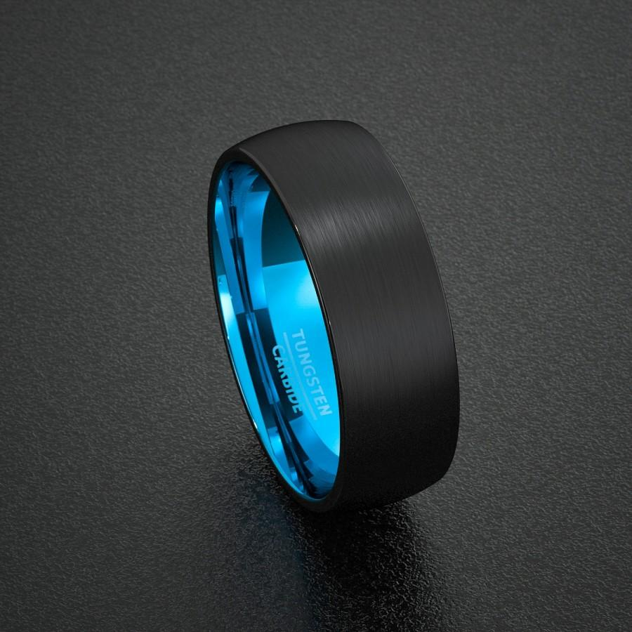 tungsten mens wedding band Queenwish 8mm Blue Black Silvering Celtic Dragon Tungsten Carbide Ring Wedding Band Mens Jewelry Size 8