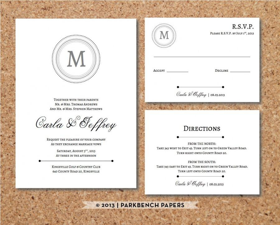 Editable Wedding Invitation, RSVP Card, And Insert Card - Classic