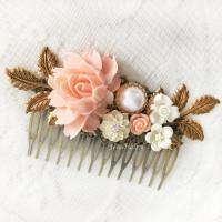 Pink Bridal Hair Comb Coral Wedding Hair Slide Blush Peach ...