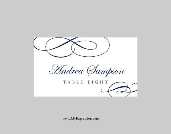 Wedding Place Cards Template (Folded) \u2013 Calligraphic Flourish (Navy