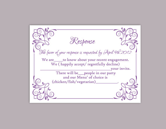 DIY Wedding RSVP Template Editable Text Word File Download Printable