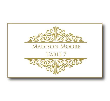 Gold Wedding Place Card Template - Instant Download - EDITABLE TEXT - place card template
