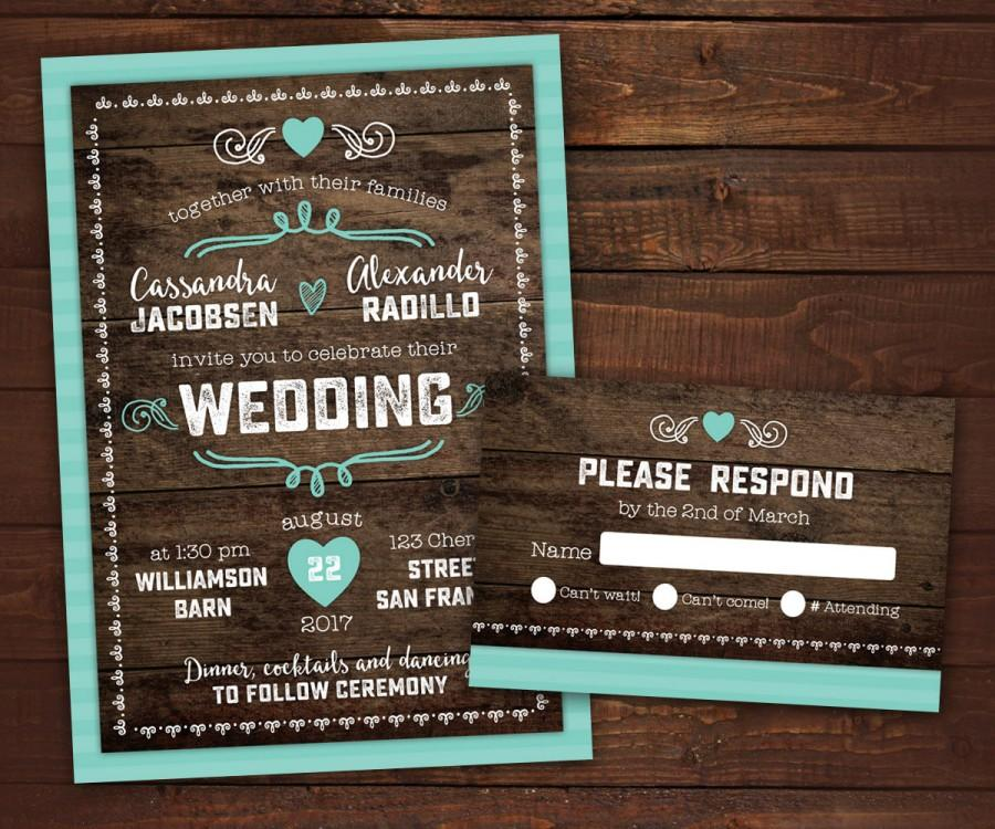 10 Country Rustic Wedding Invitations With RSVP, Barn Wedding, Wood