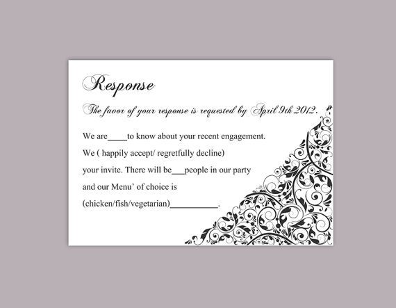 DIY Wedding RSVP Template Editable Text Word File Download Rsvp - free printable wedding rsvp cards